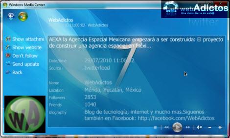 Revisa tu Twitter desde Windows Media Center - twitter-media-center