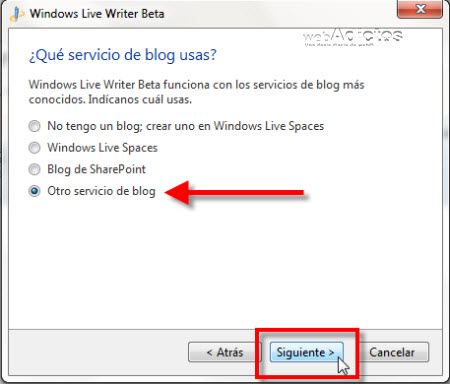 Configurar Windows Live Writer Beta - windows-live-writer-beta1