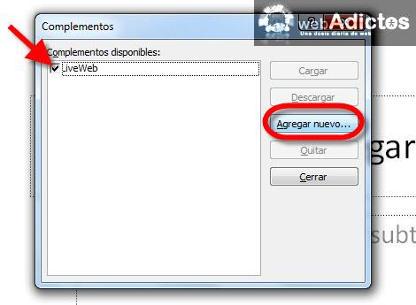 Agregar páginas de internet en Power Point - agregar-complemento-nuevo