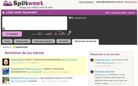 Splitweet, Cliente twitter para múltiples cuentas - cliente-twitter