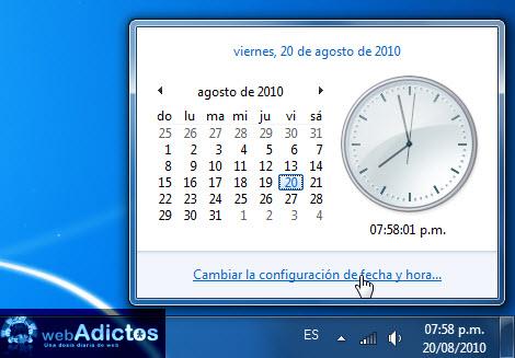 configuracion reloj windows 7 Agregar un segundo reloj en Windows 7