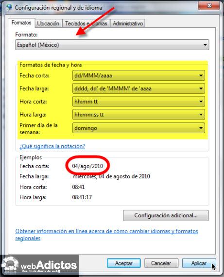 Cambiar el formato de la fecha en Windows 7 - configurar-formato-fecha