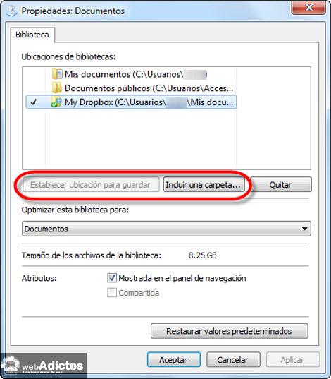 establecer ubicacion guardado1 Cambiar la carpeta de guardado por defecto en Windows 7