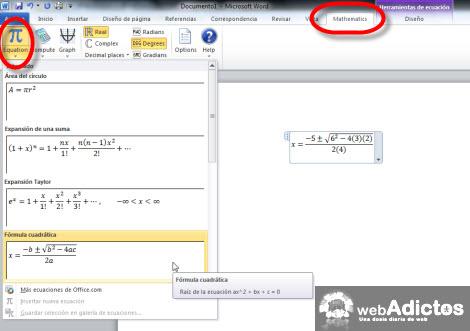 insertar ecuaciones word Resolver y graficar ecuaciones en Word 2007/2010