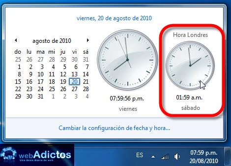 Agregar un segundo reloj en Windows 7 - segundo-reloj-windows-71