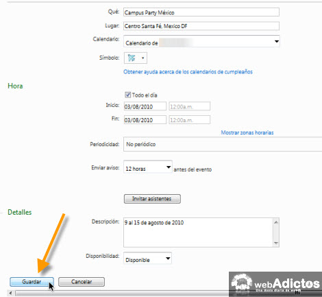 Añadir un evento en Windows Live Calendar en IE8 - windows-live-calendar-fechas