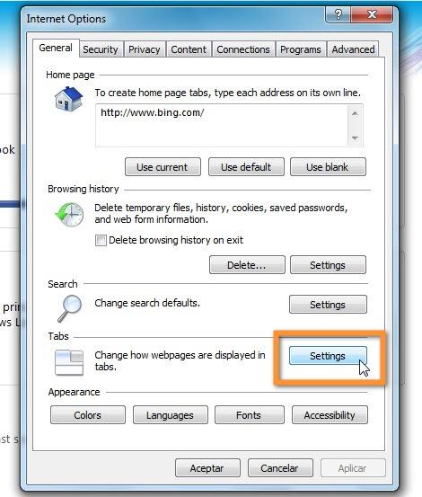 31 10 2010 12 41 38 p.m. Personalizar, cambiar o quitar la página de Nueva Pestaña en Internet Explorer 9