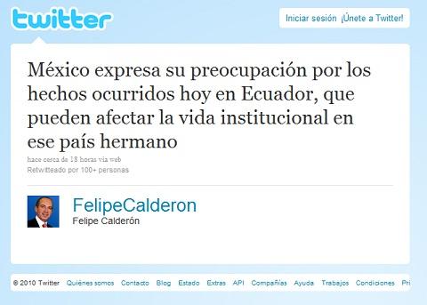 Twitter en el intento Golpe de Estado en Ecuador - felipe-calderon-ecuador