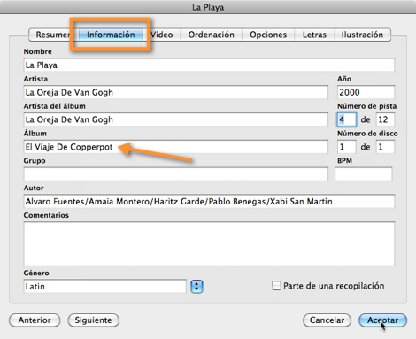 informacion canciones itunes Mantener tus canciones ordenadas en iTunes