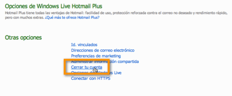 opciones hotmail Desactivar tu cuenta de Hotmail
