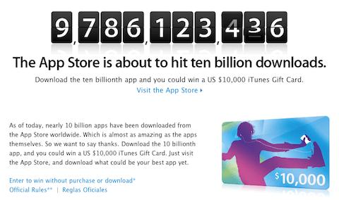 Captura de pantalla 2011 01 15 a las 02.01.38 Apple recompensará a quien descargue la App número 10 mil millones
