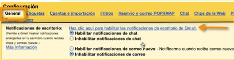 activar notificaciones de escritorio de gmail Como activar las nuevas notificaciones de escritorio de Gmail