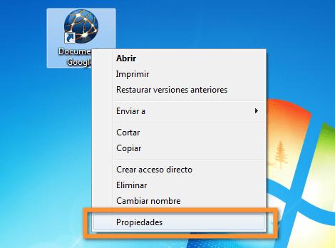 propiedades del icono Como crear un acceso directo de Google Docs en tu escritorio