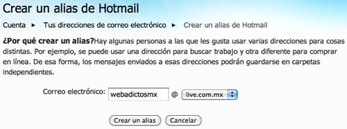 como crear alias hotmail Crear alias de correo hotmail