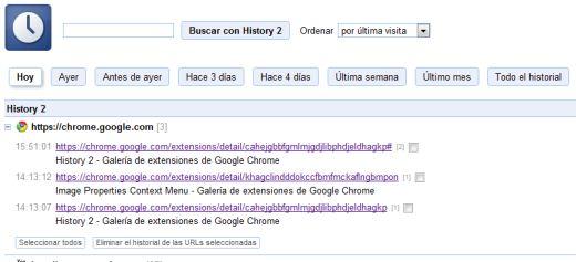 Mejora el historial de Chrome con History 2 - history-2