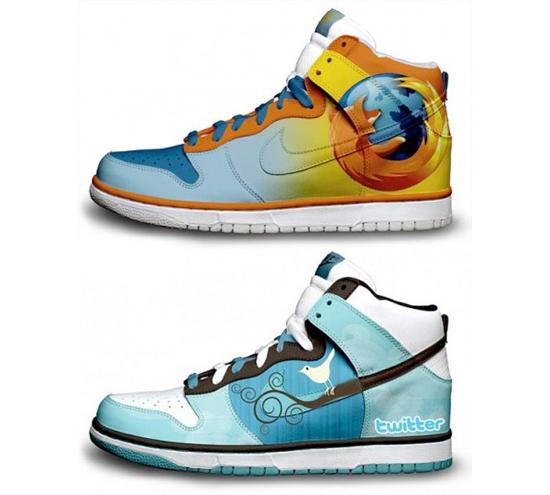 Zapatos deportivos Nike versión Google y Twitter - nike-firefox-y-twitter
