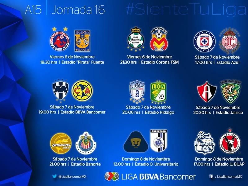 Los partidos de la Jornada 16 del Apertura 2015, sus horarios y en qué canal se transmiten - horarios-partidos-de-la-jornada-16-apertura-2015