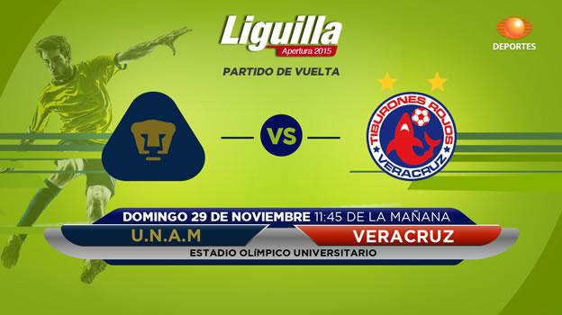 pumas vs veracruz en vivo liguilla apertura 2015 Pumas vs Veracruz, vuelta de la Liguilla del Apertura 2015