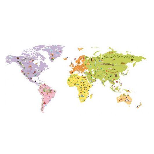 Muursticker wereldkaart  Kidzsupplies