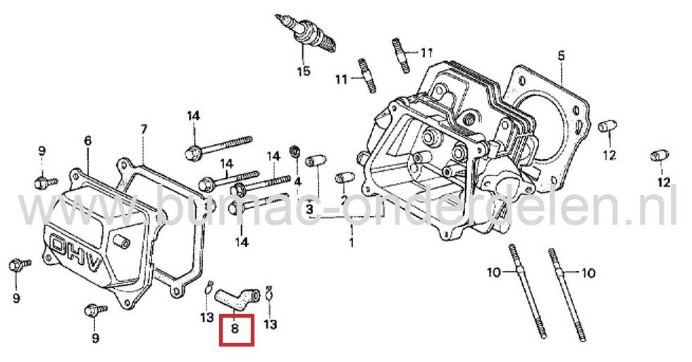 Ontluchtingsslang voor Honda GX110, GX120, GX140 en GX160