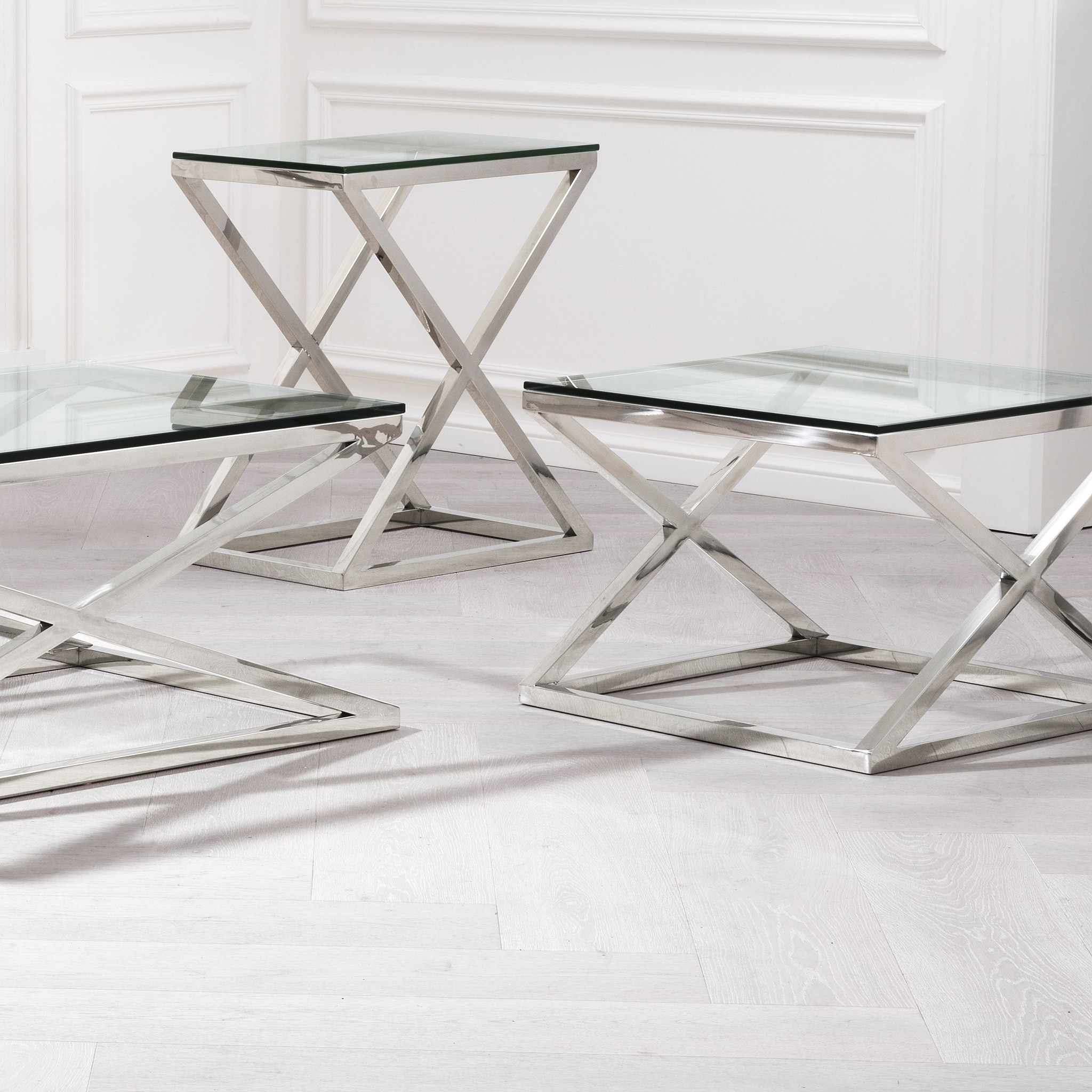 Couchtisch Madison Eichholtz Couchtisch Glas - Criss Cross High 62 X 42 X 72cm (h) - Wilhelmina Designs