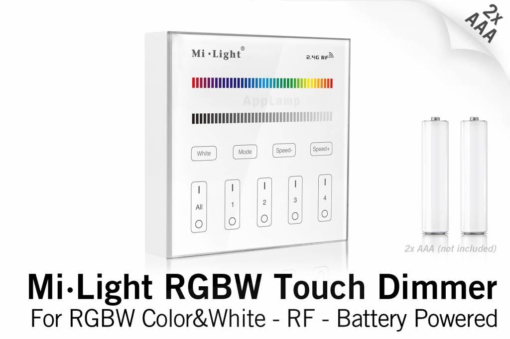 Mi·Light MiLight RGB / RGBW Touch Wandbediening Opbouw, 4-zones, RF, 2xAAA Batte