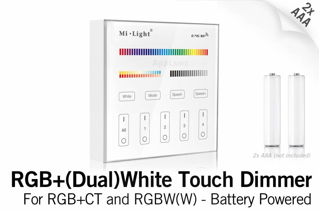 Mi·Light MiLight RGB+ DualWhite (RGB+CT) Touch Wandbediening Opbouw, 4-zones, RF