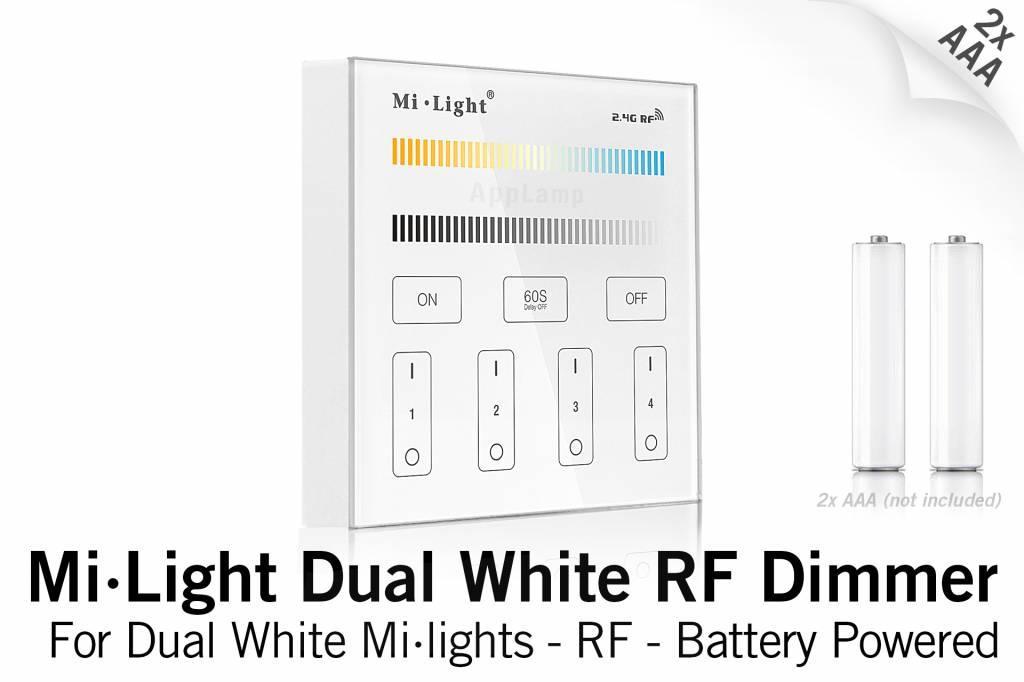 Mi·Light MiLight CCT CT opbouw Dual White RF Touch Dimmer, AAA batterij