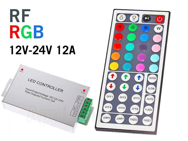 RF RGB LED-strip Controller met 44 knops afstandsbediening, 12A 12-24V