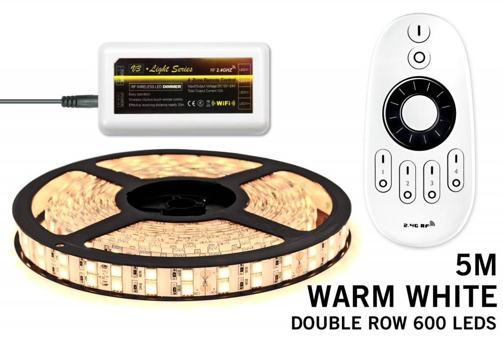 Mi·Light LEDstrip set Warm Wit dubbele rij, 600 leds type 5050, 12V 5M met RF af
