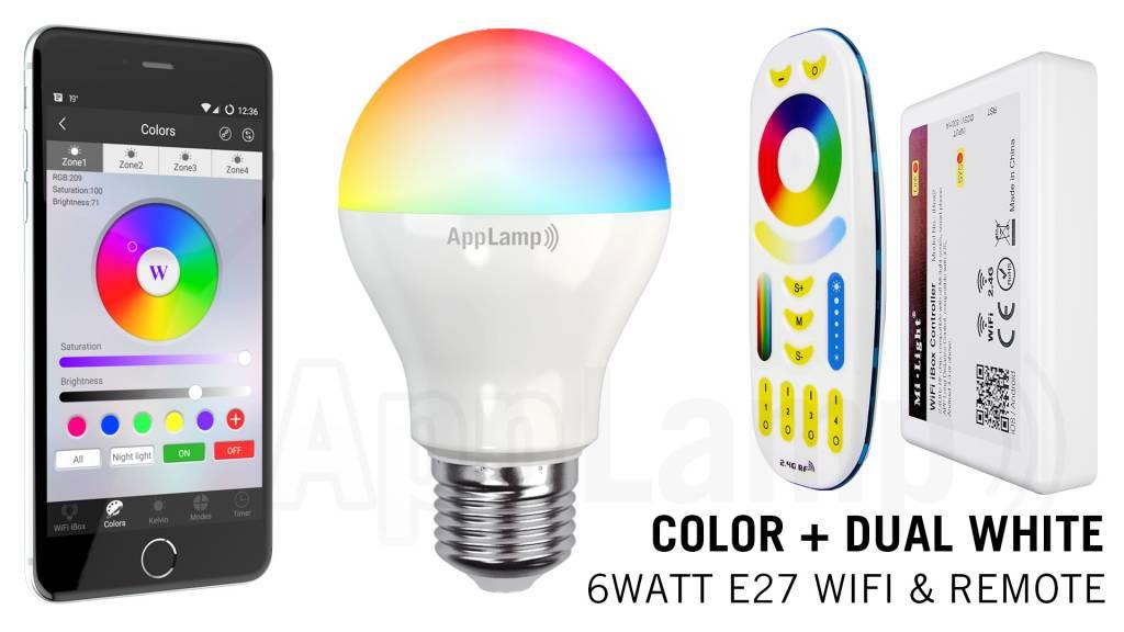 Mi·Light E27 RGB+Dual White 6 Watt Wi-Fi LED lampen. Complete set met Wifi Box e