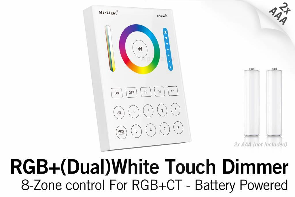 Mi·Light MiLight RGB+ DualWhite (RGB+CT) Touch Wandbediening Opbouw, 8-zones, RF