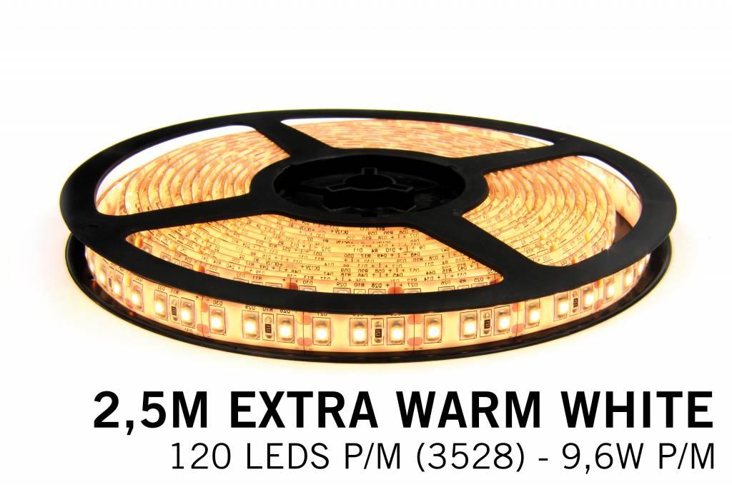 Extra Warm Witte LEDstrip 120 leds p.m. - 2, 5 Meter - type 3528 - 12V - 9,6W/p.