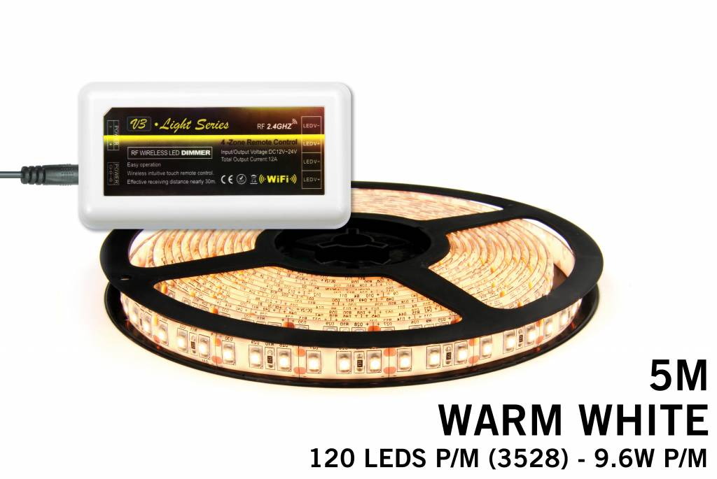 Mi·Light Warm Witte LED strip met 600 type 3528 leds 48W 12V 5M - Uitbreidingsse