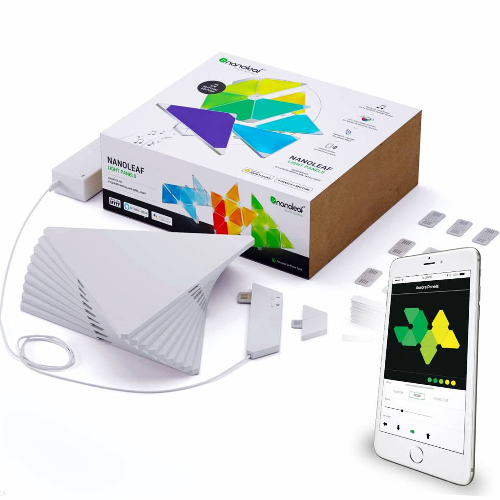 Aurora Nanoleaf Aurora Smarter kit Rhythm met 9 led panelen en APP