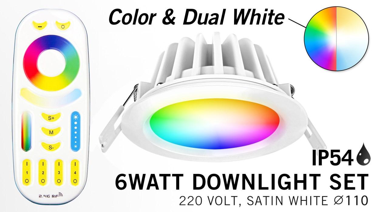 Mi·Light Mi-Light Set 6W waterdichte spot RGBWW Kleur + Dual White LED Inbouwspo