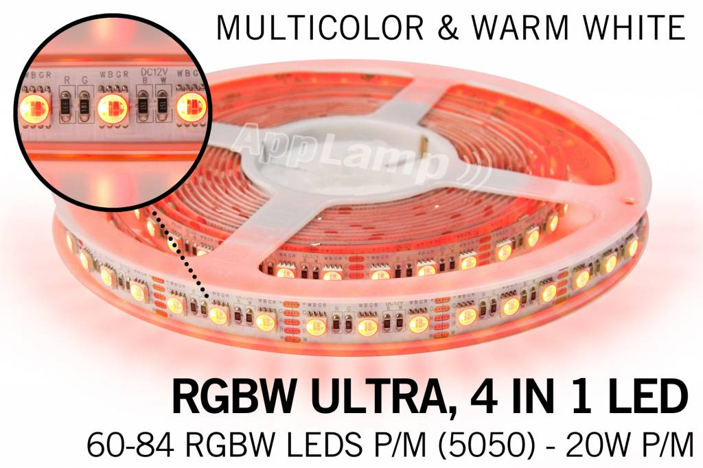 B-STOCK AANBIEDING / 5m RGB & Warm Wit Ultra 4 in 1 Led 60Leds pm 12V