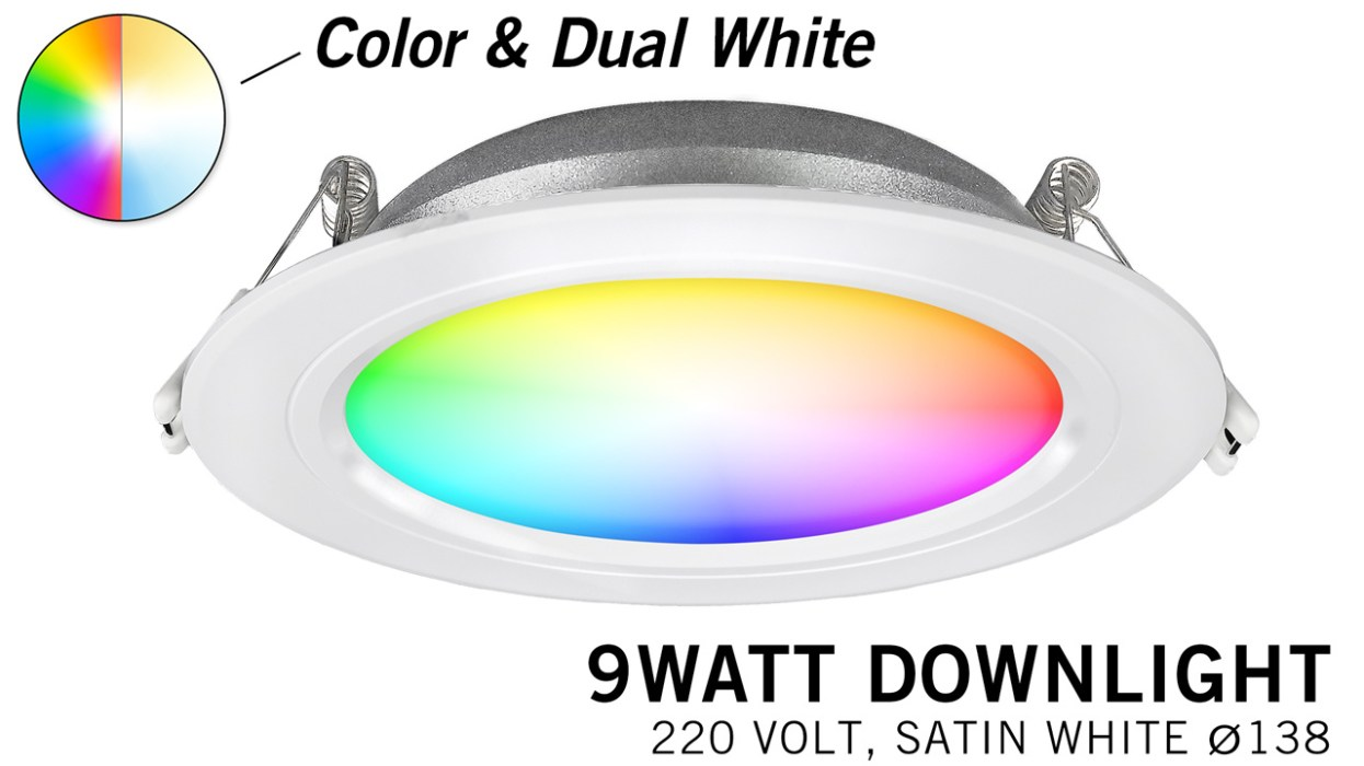 Mi·Light Mi-Light 9W RGBWW Kleur + Dual White LED Inbouwspot 220V. Satijn Wit