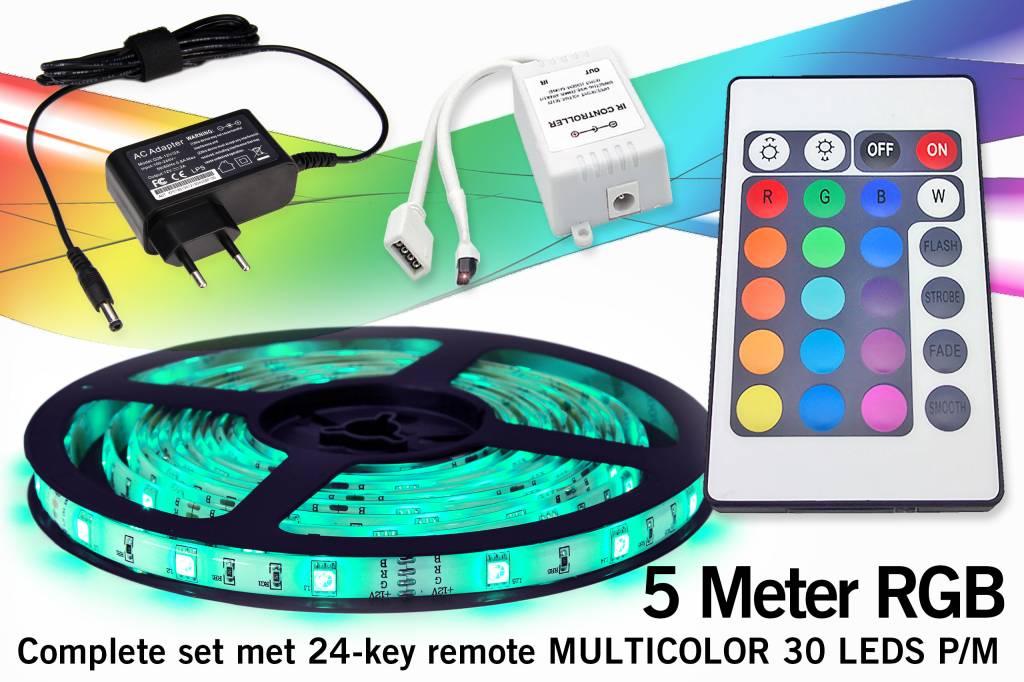 RGB Led Strip   5m 12V 7,2W pm met afstandsbediening
