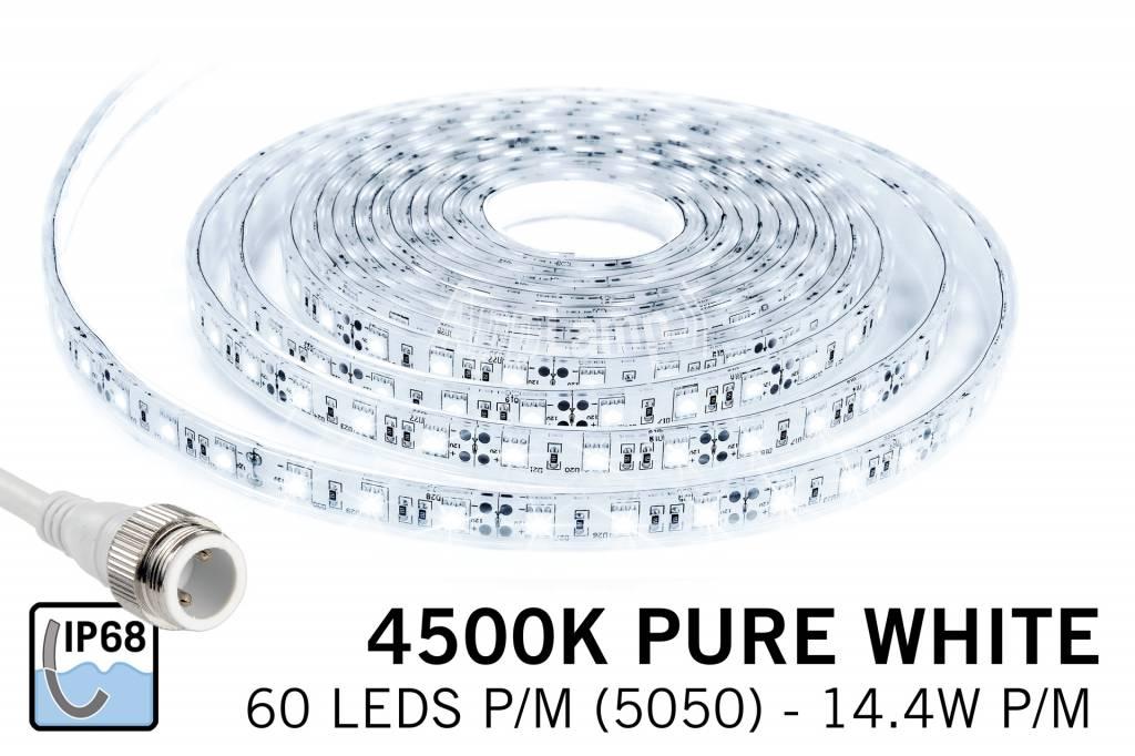 Waterdichte LED strip Puur wit (IP68) met 300 leds 12V, 5 meter