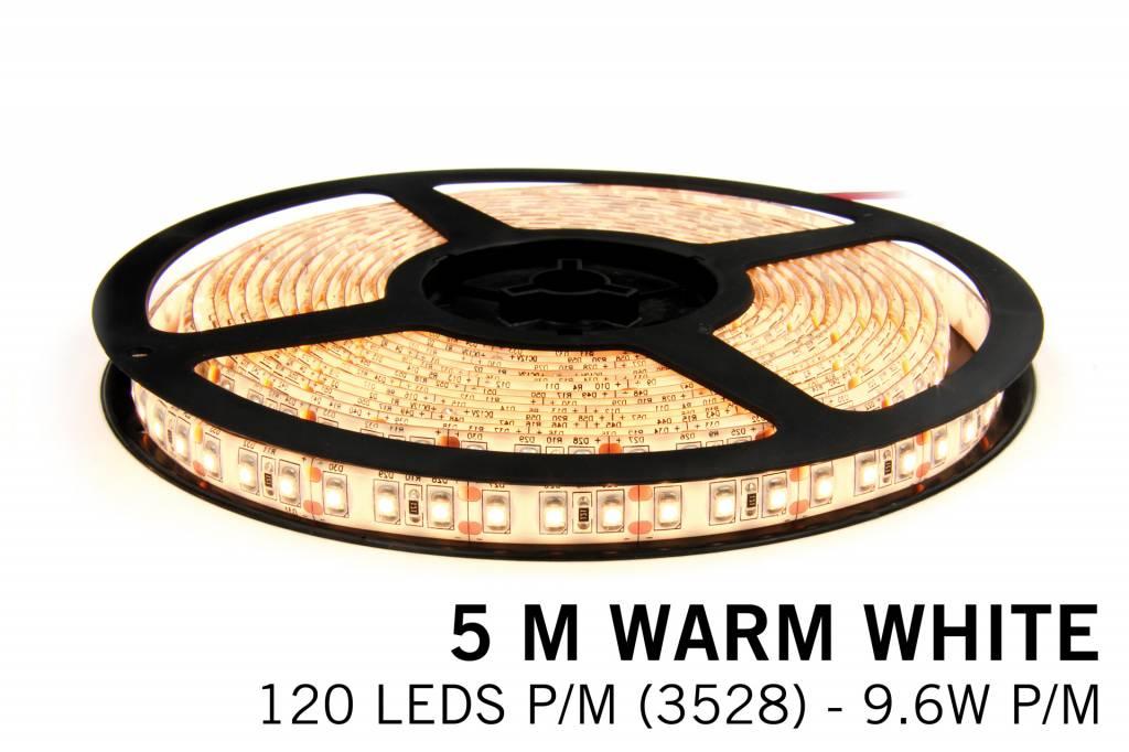 Warm Wit LED strip 120 leds p.m. - 5M - type 3528 - 12V - 9,6 W p.m.
