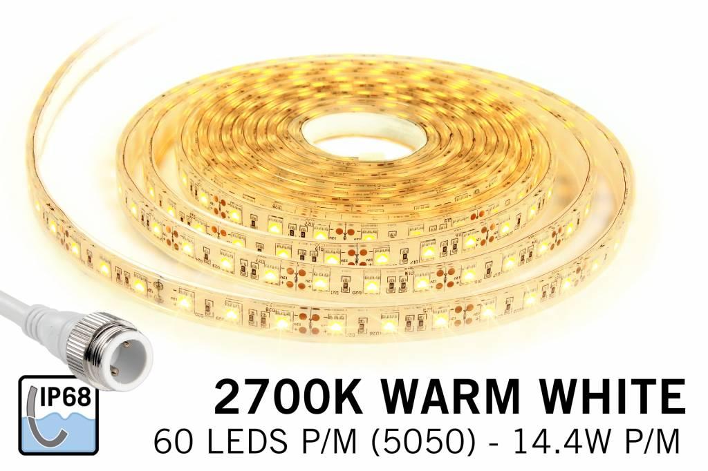 Waterdichte Warm Witte LED strip (IP68) met 300 LED's 12V, 5 of 1,5 meter