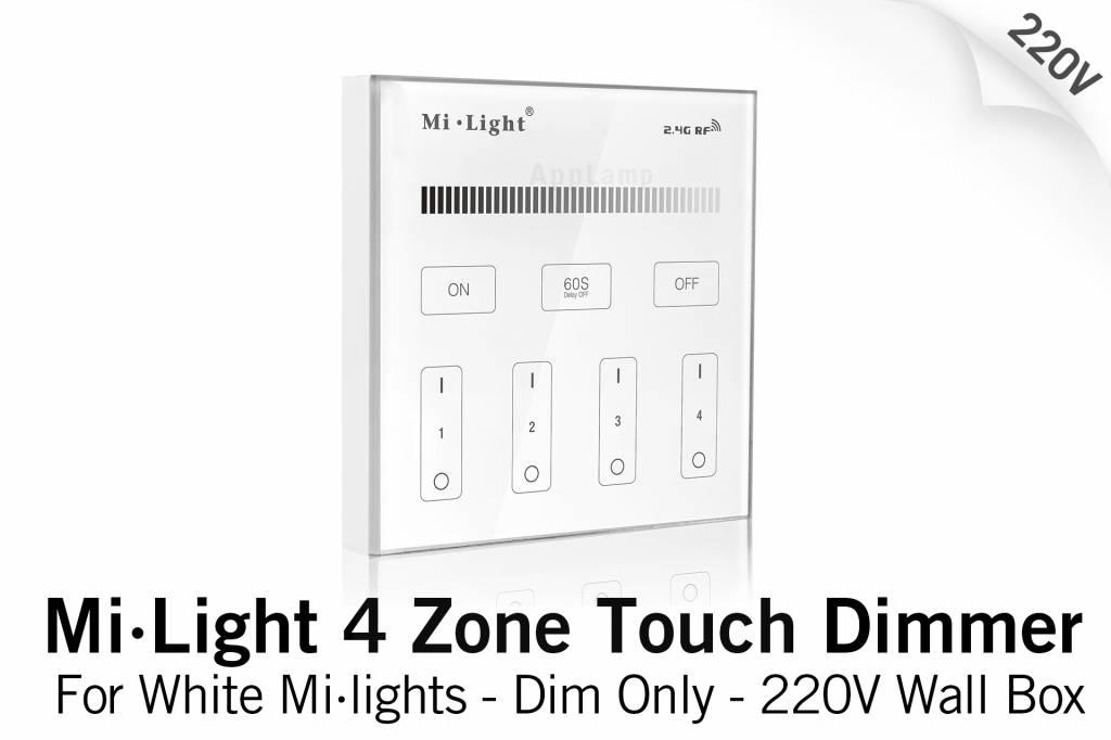 Mi·Light MiLight Inbouw RF Touch Dimmer Paneel 4-kanaals, Witte Verlichting, 220