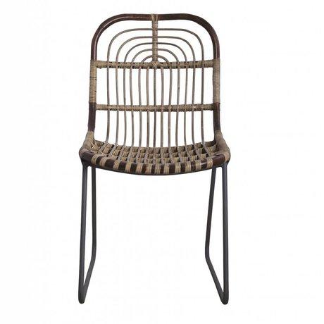 housedoctor salle chaise kawa metal rotin gris 46x52x86cm