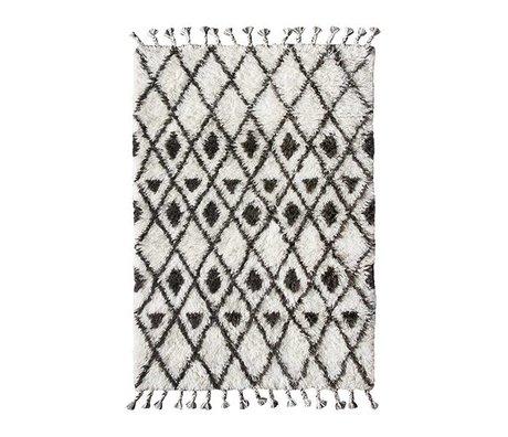 laine nouee a la main tapis berbere 120x180cm noir et blanc