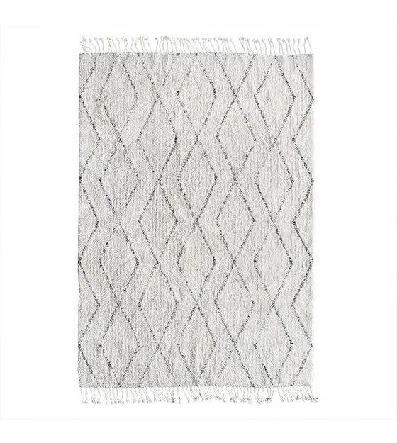 hk living coton blanc tisse a la main tapis berbere gris 140x200