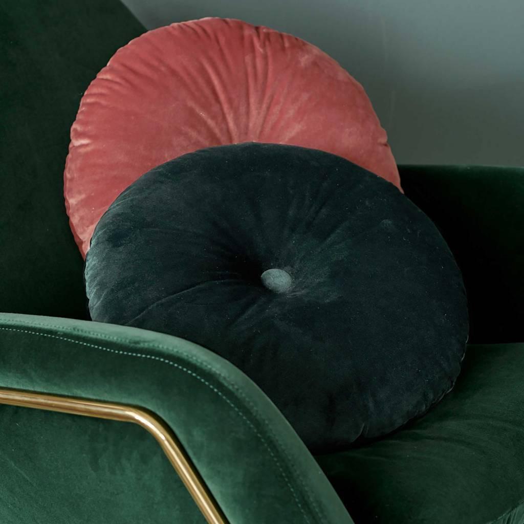essenza cushion naina round green velvet polyester o40cm