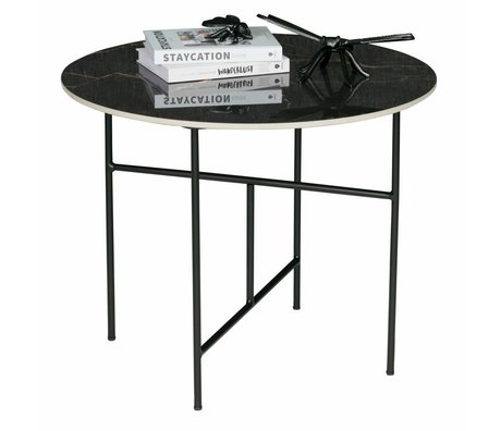 woood vida coffee table with marble look top black o60x48cm