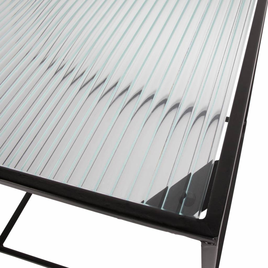 woood set of 2 miles coffee table metal glass black
