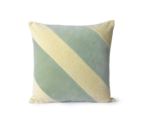 hk living throw pillow striped velvet green textile 45x45cm